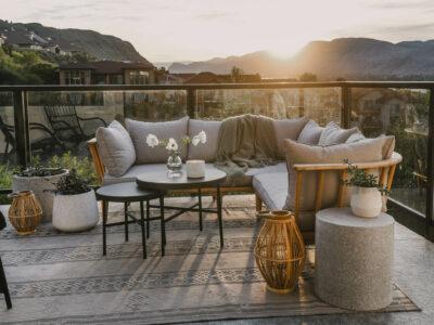 wood look lanterns against grey patio decor