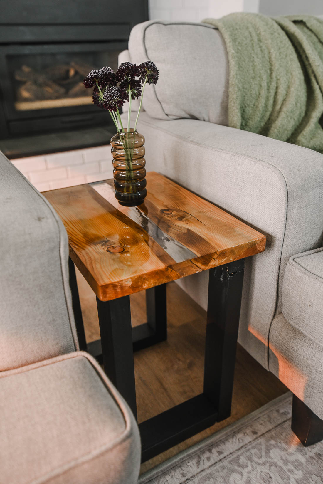 DIY Live Edge Table with Resin River