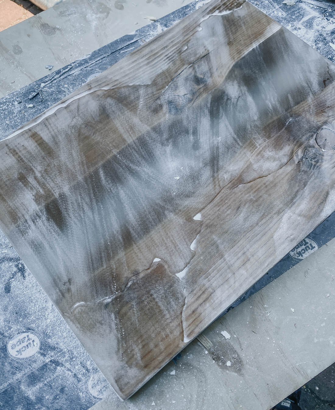 Sanding a Resin River Table Top