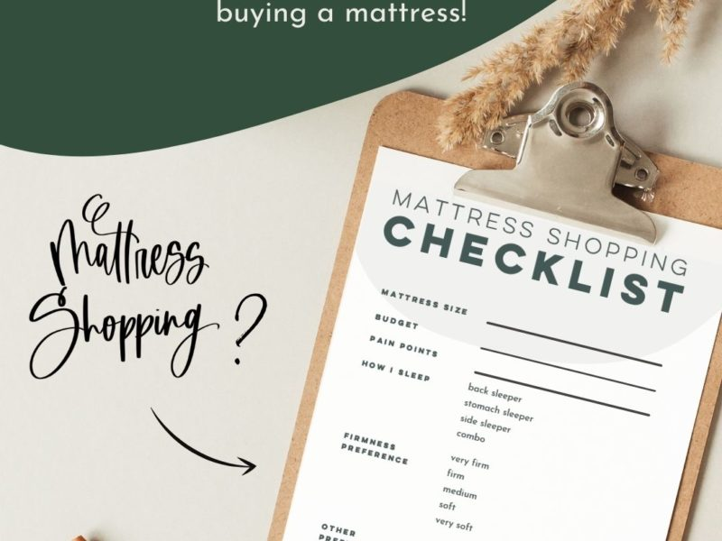 mattress shopping checklist on clipboard
