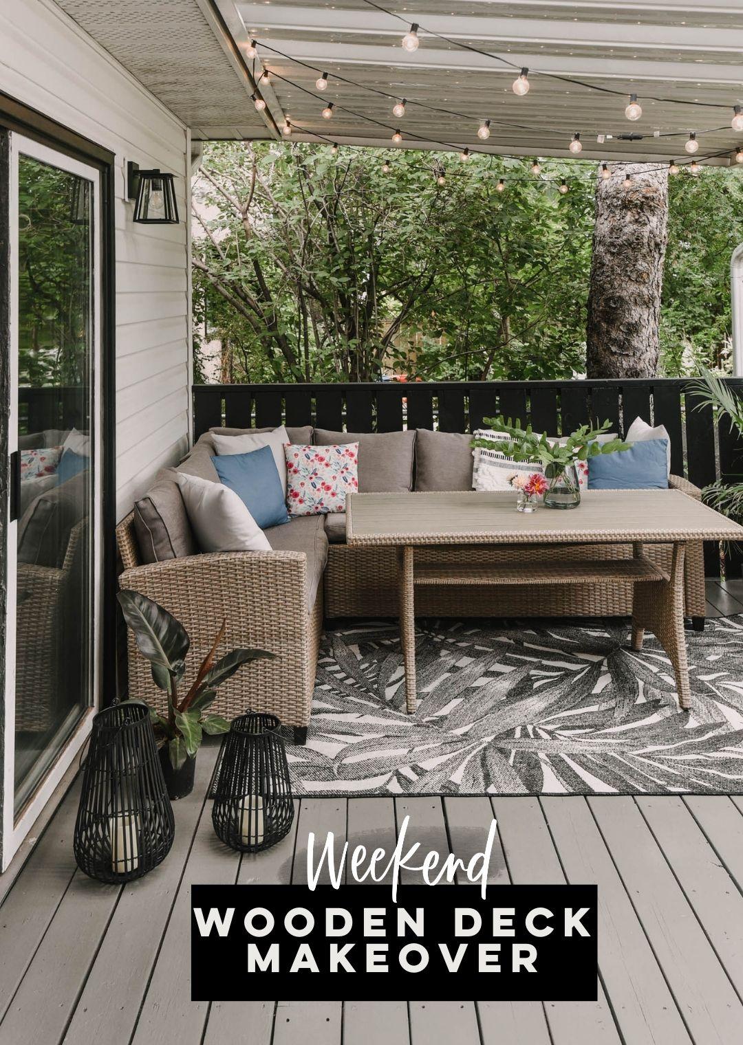 Weekend wooden deck makeover