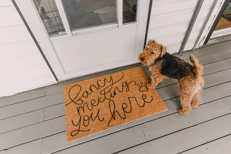 DIY door mat on freshly painted patio