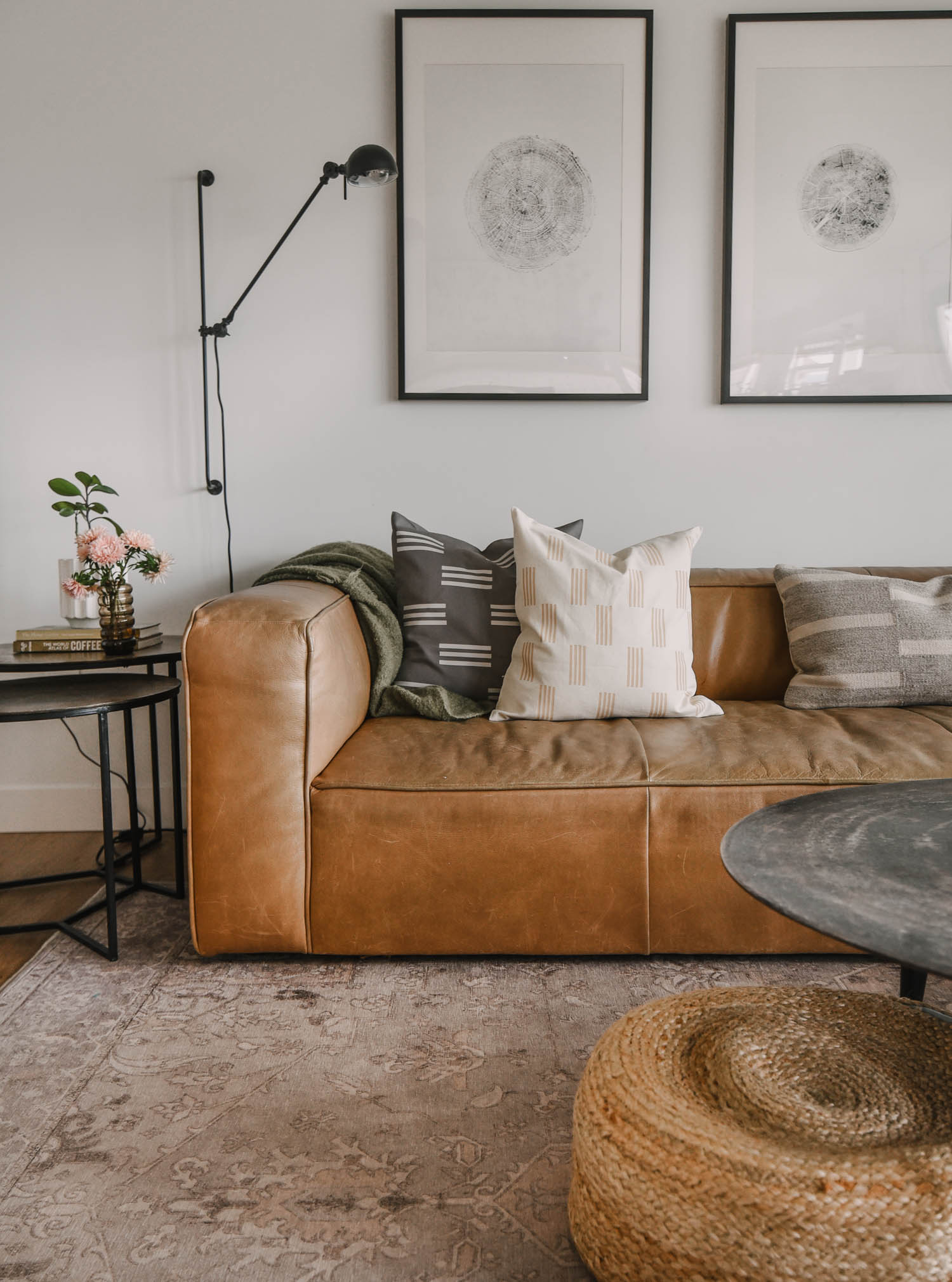 DIY Throw Pillow Cover on leather sofa