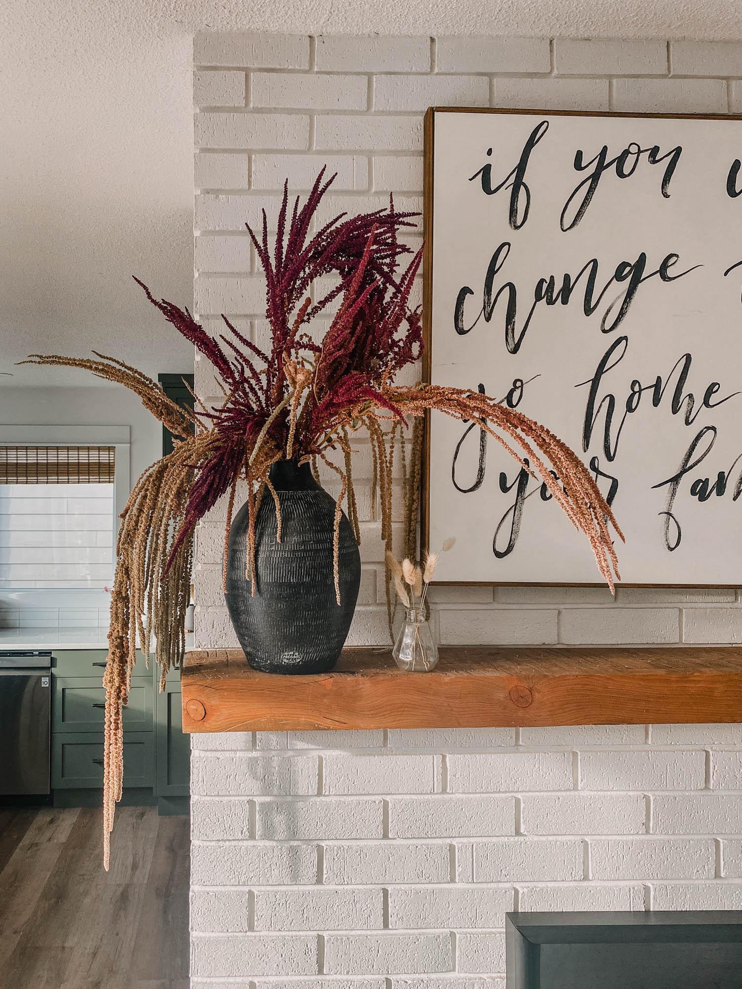 Dried Amaranth for fall decor