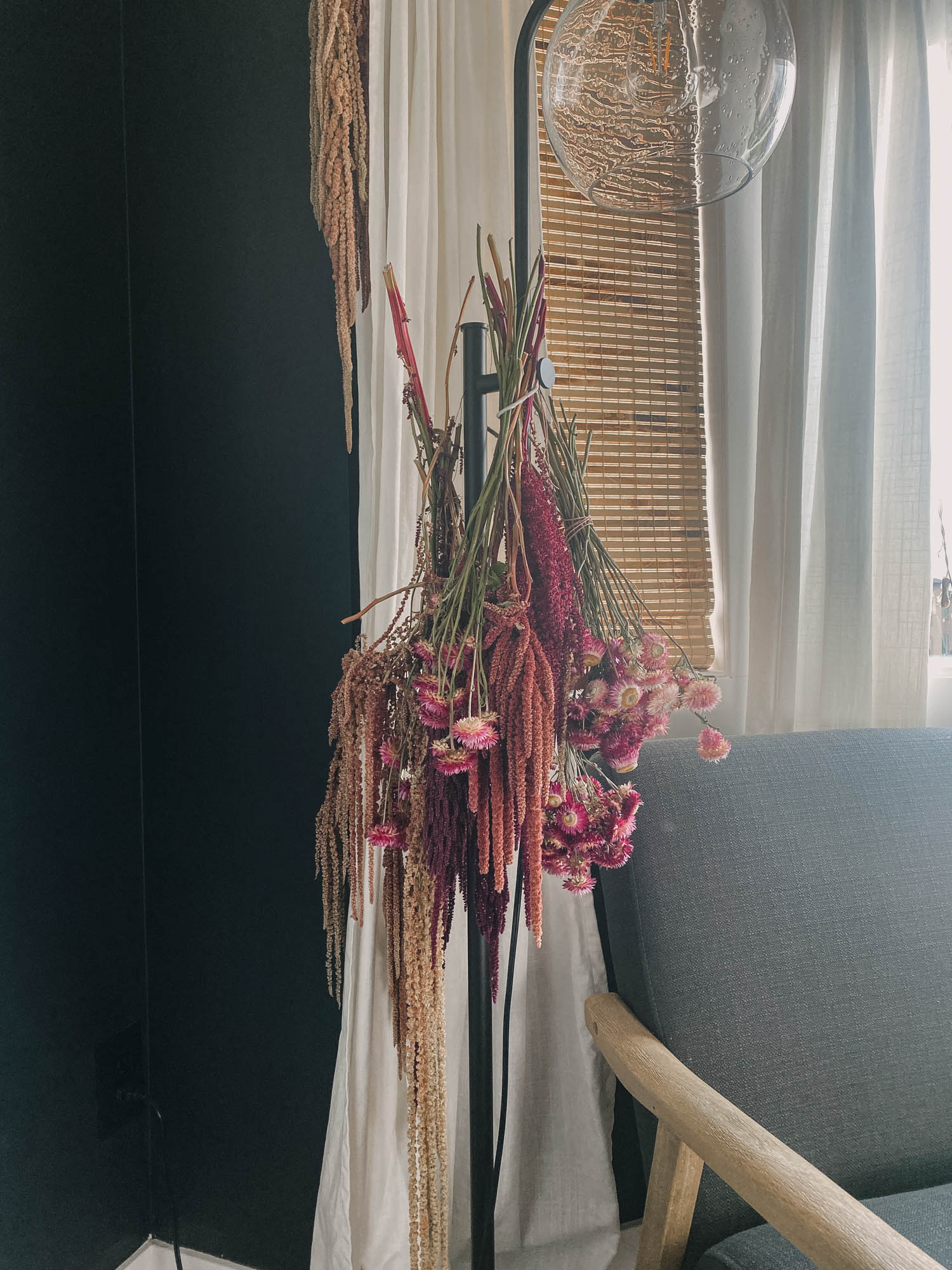 hanging florals to dry them