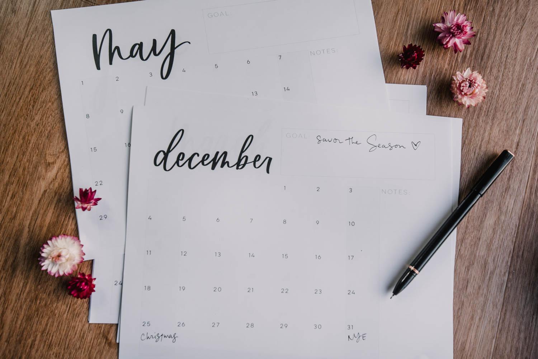 Printable Calendar 2022 Grid Calendar with Notes + Goals