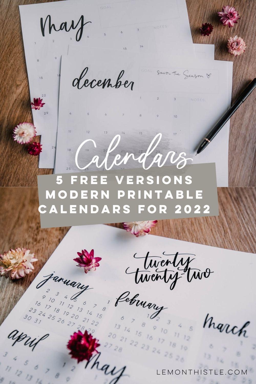 5 Modern Printable Calendars for 2022