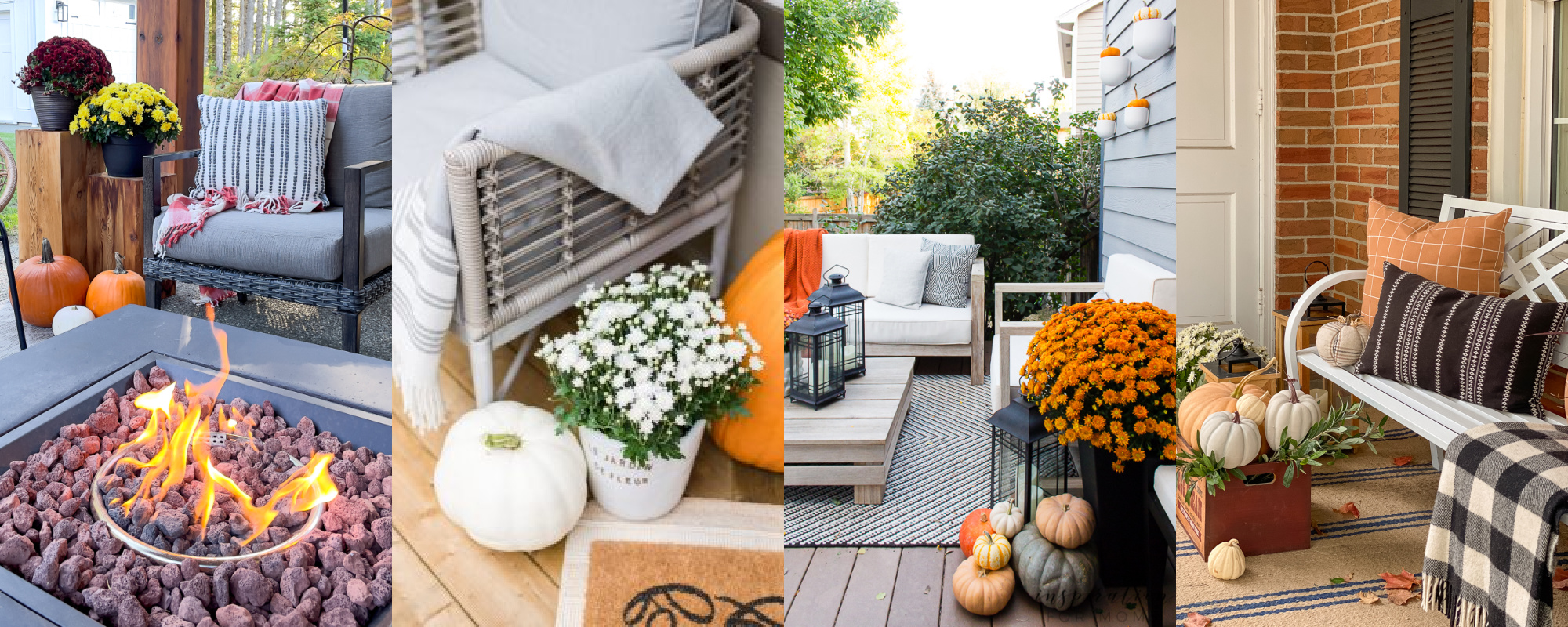 Outdoor spaces decorated for fall