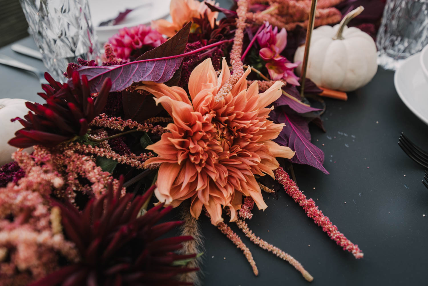 Giant Dahlias in this unique fall table setting