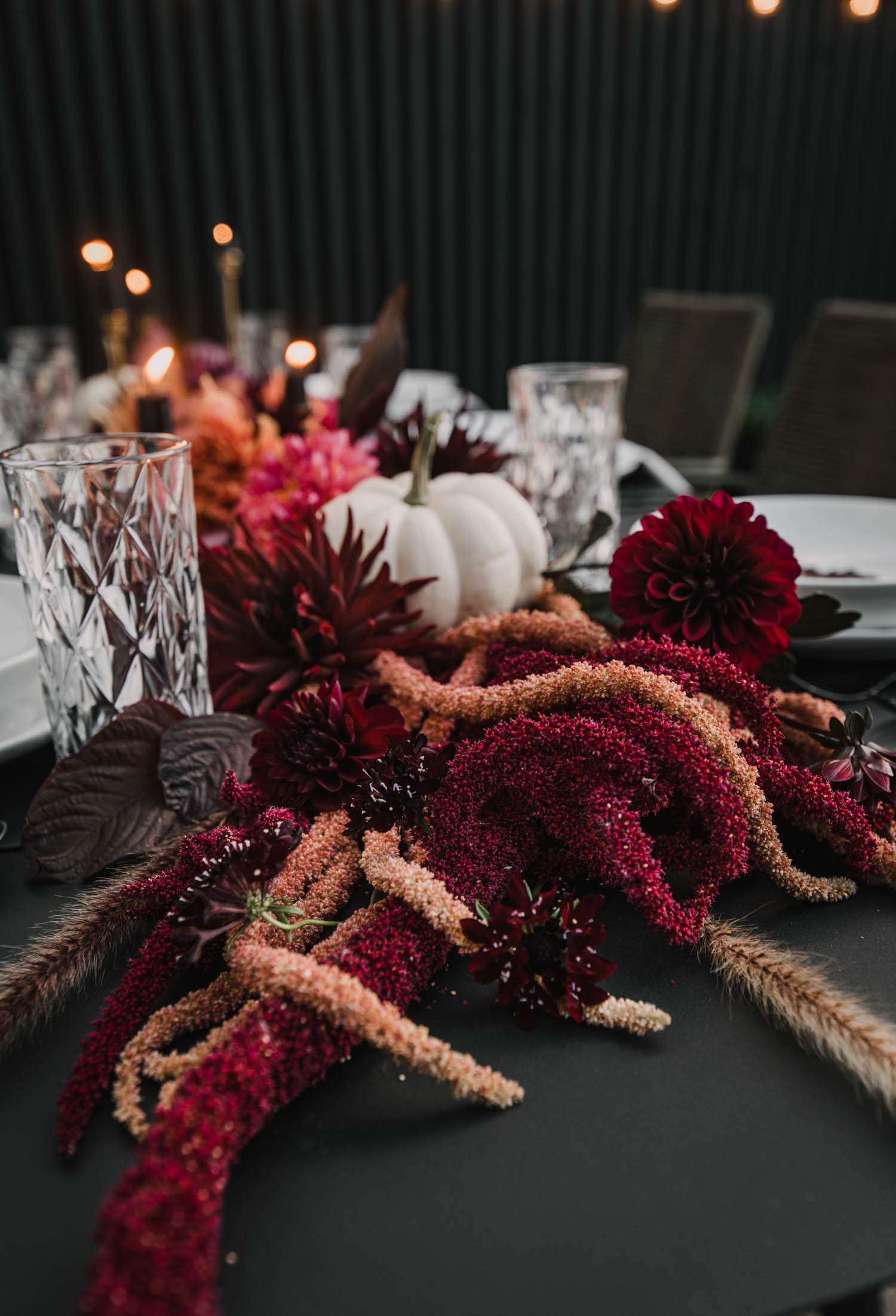 Moody Red and Orange Fall Tablescape with a Twist