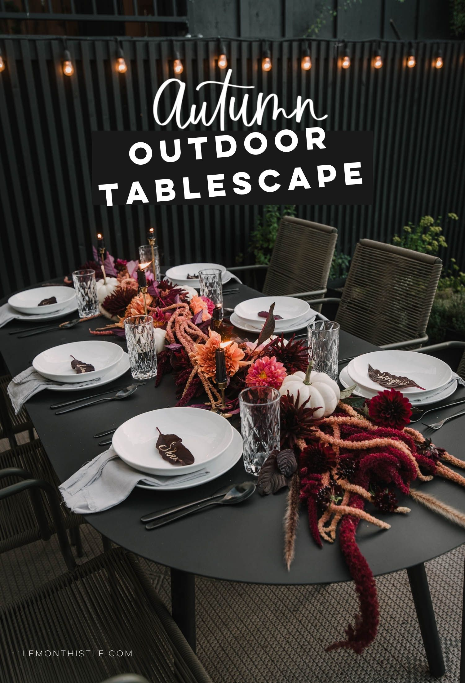 moody outdoor autumn tablescape