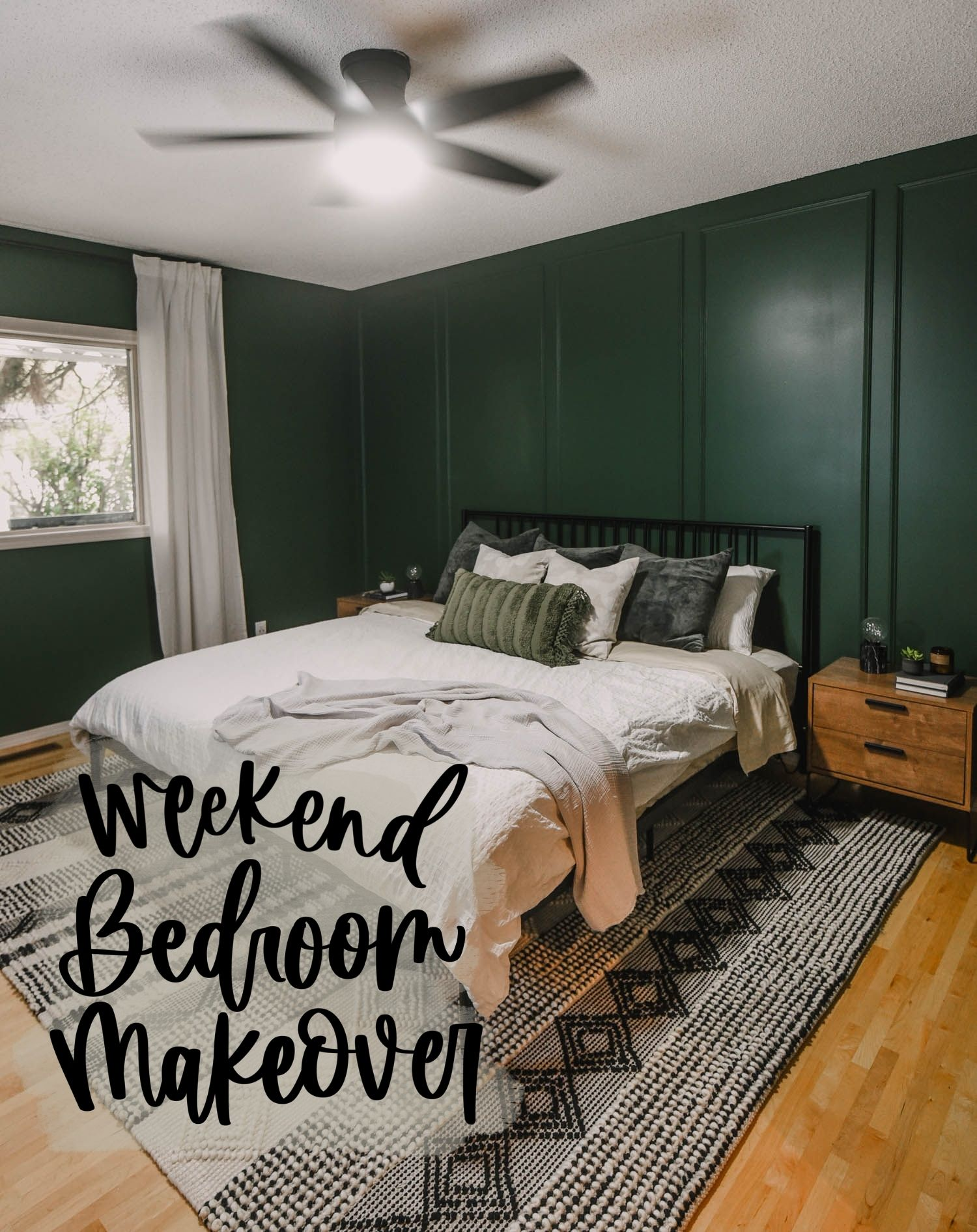 text overlay reads weekend bedroom makeover