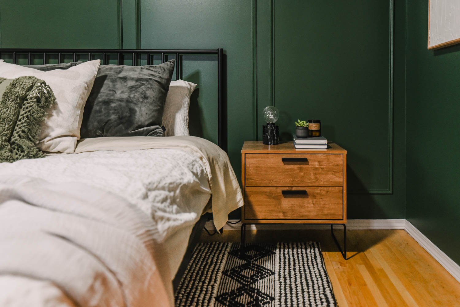 modern nightstand in a Green bedroom makeover