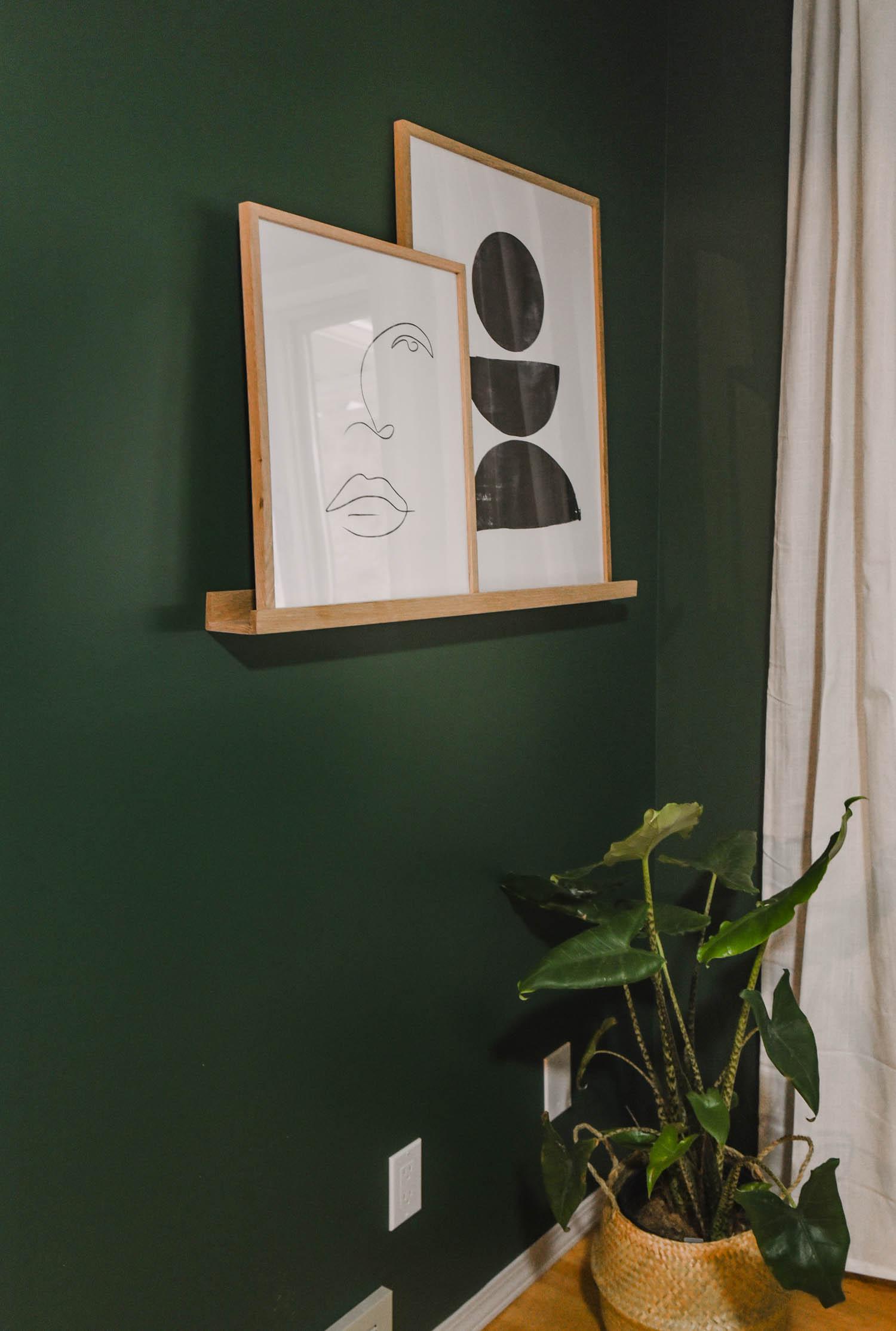 Photo ledge with modern prints