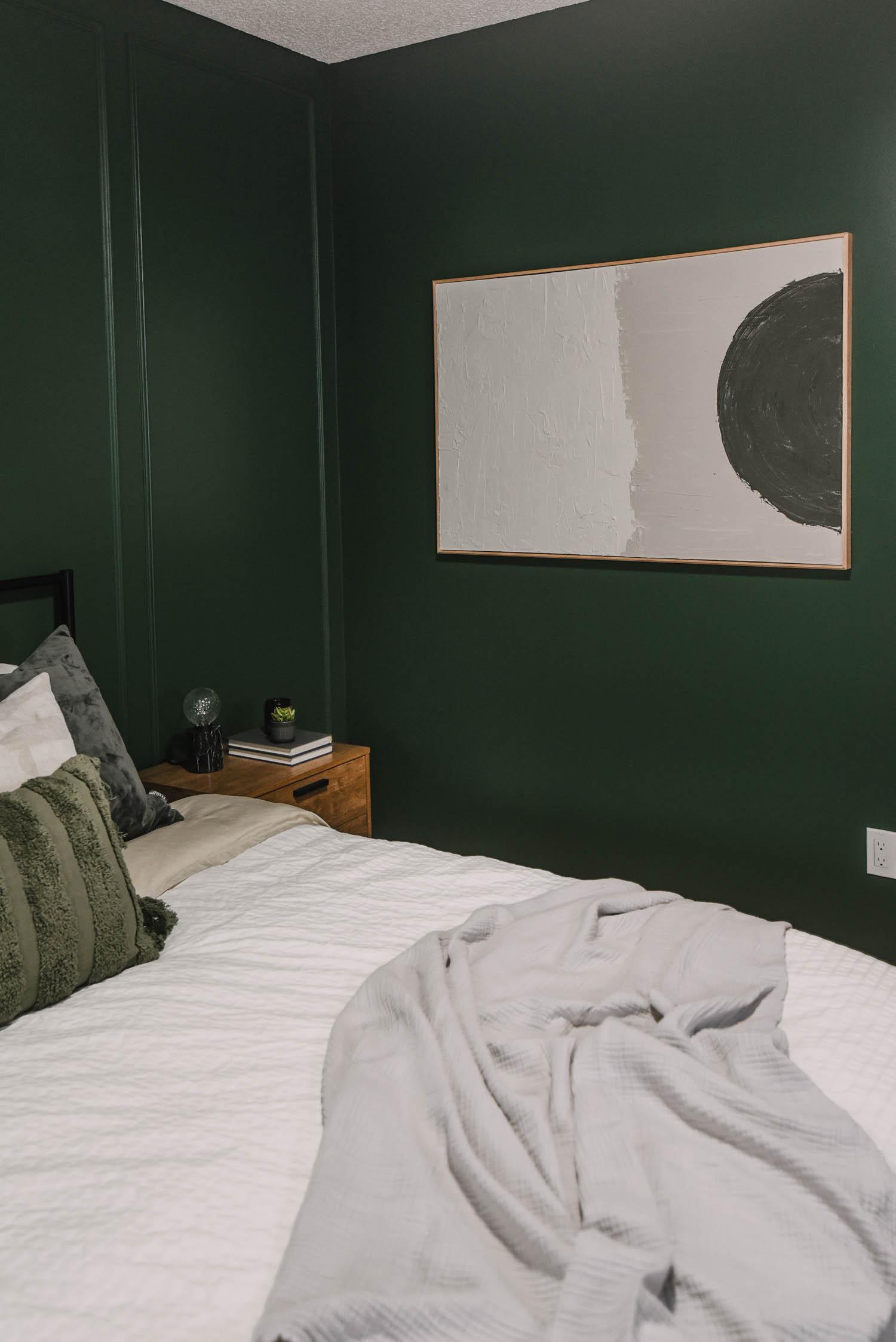 DIY Wall art in a bedroom makeover