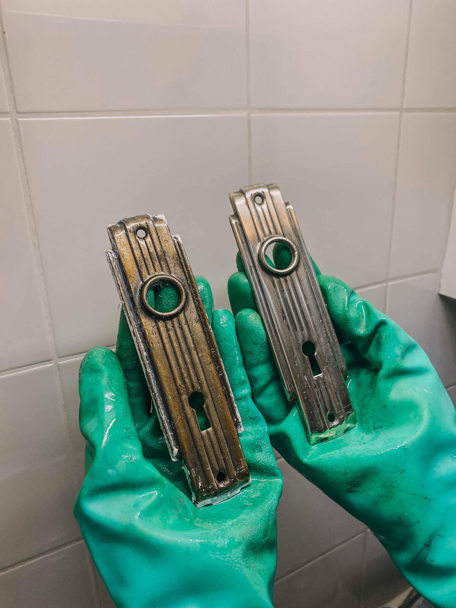 Cleaning vintage door hardware